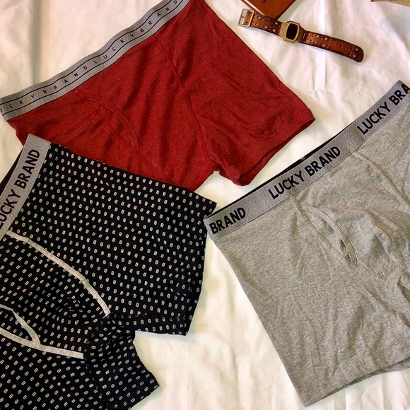 Lucky Brand Mens 3 Pack Stretch Boxer Briefs with Fly Pouch XLarge NWT